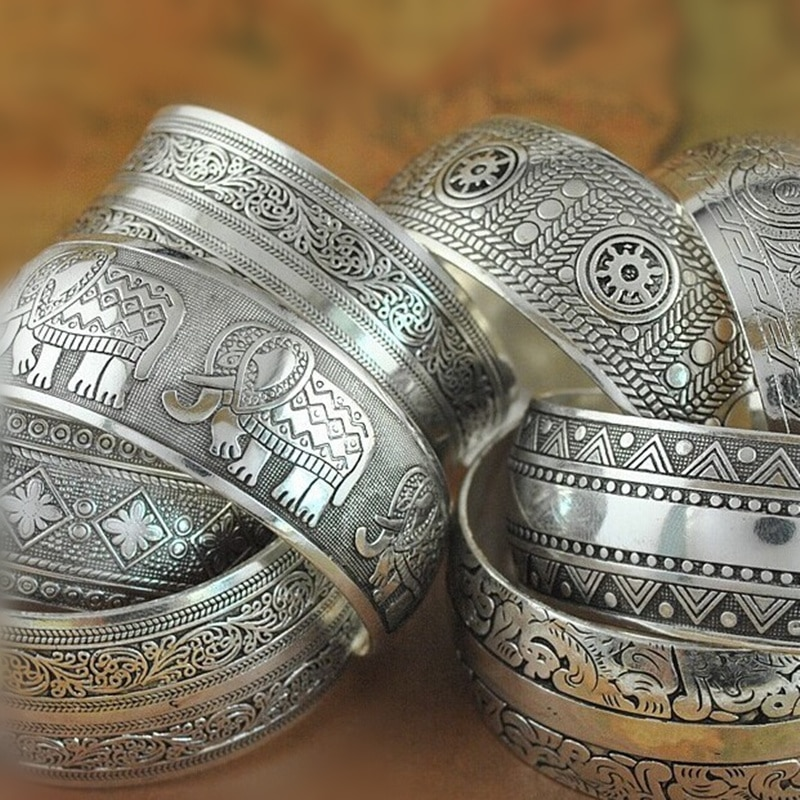 Новый Цыганский квадратный Цветок Металлический тибетский серебряный винтажный Ретро Модный Браслет-манжета браслет Бесплатная доставка для нее Рождественский подарок