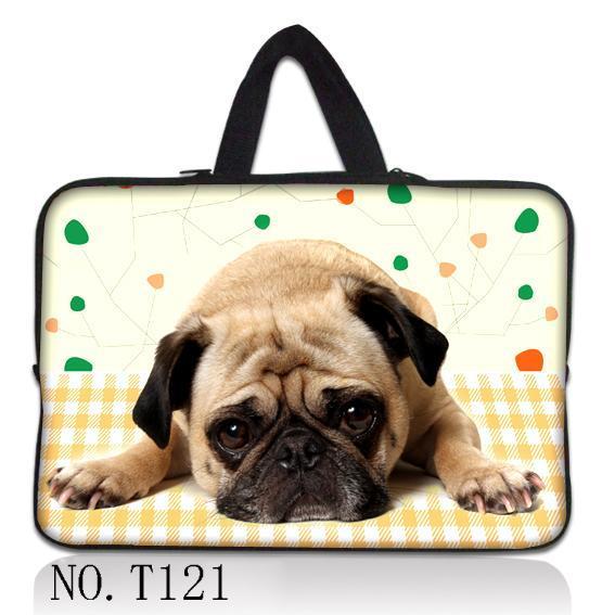 """Cão adorável 15 """"laptop sleeve soft case bag bolsa + esconder alça para 15.4"""" 15.6 """"dell hp acer"""