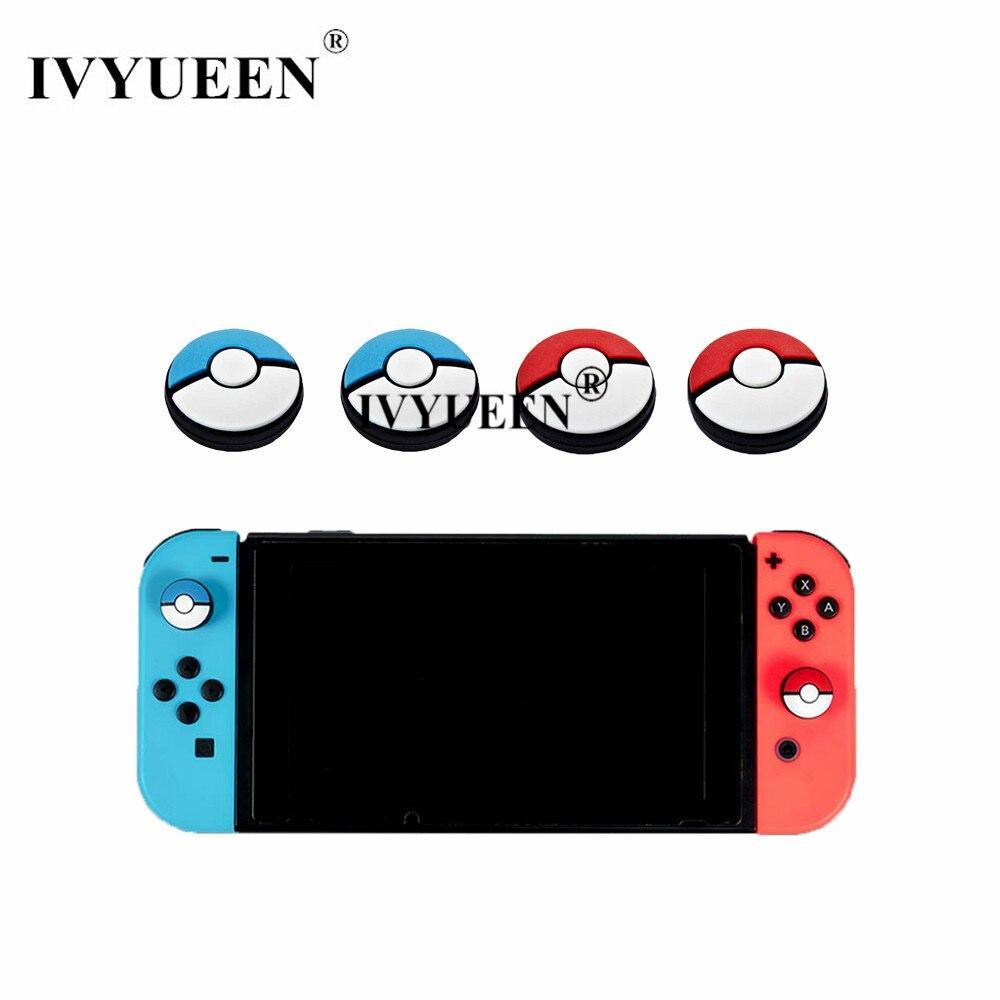 IVYUEEN Silicone Controlador Analógico Thumb Vara Grips Caps para Nintend Interruptor JoyCon Pokeball Vermelho + Azul Joystick Capa para Alegria con