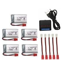 5 pièces 3.7V 500mAh Drone Rechargeable li-polymère batterie 752540P + chargeur ensemble pour RC Syma X5C X5SC M68 Cheerson CX-30