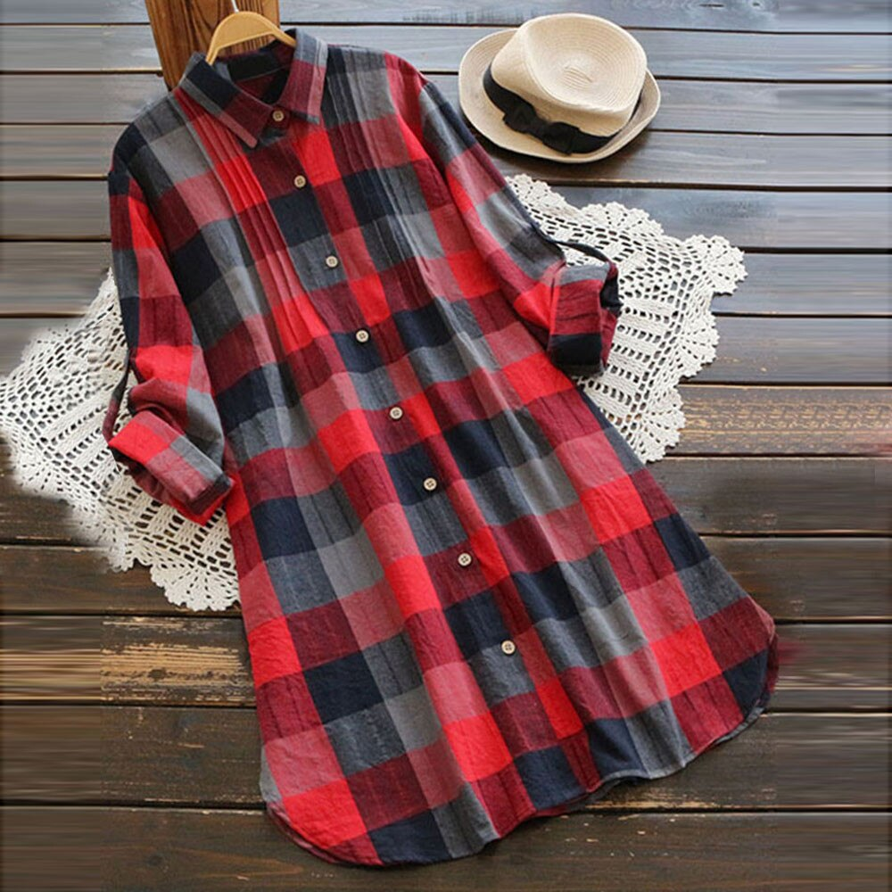 Vestido de mujer de algodón a cuadros botón Retro a cuadros de manga larga Casual botón Mini Vestido de camisa Vestido #5/25