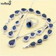 XUTAAYI, conjuntos de joyería de plata de alta calidad, color azul creado, perfecto collar/anillos/pendientes/pulsera para mujer