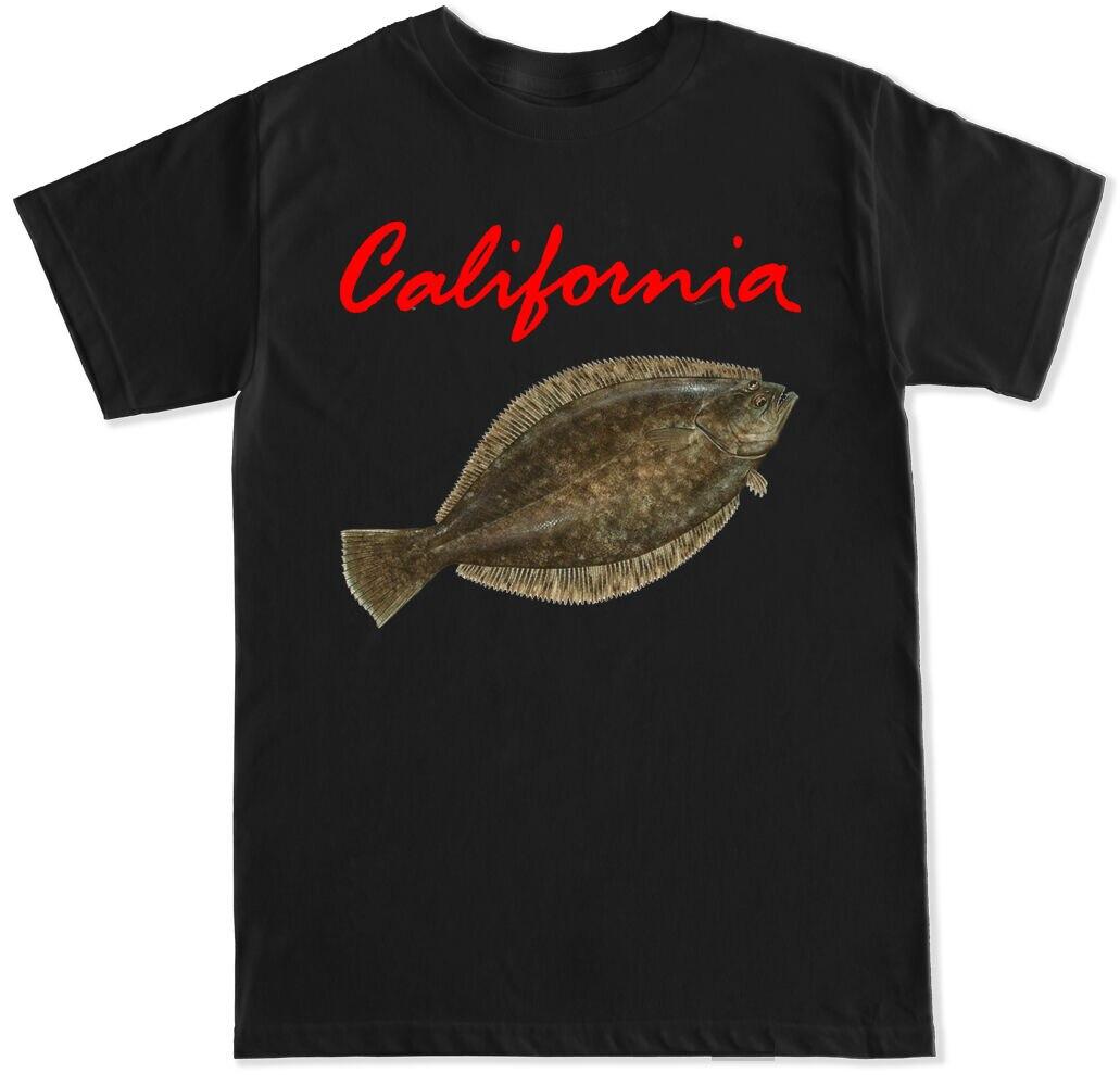 California Halibut Costa SportFish pescas Juegos de la vida salvaje barco camisa Streetwear Mens camisetas