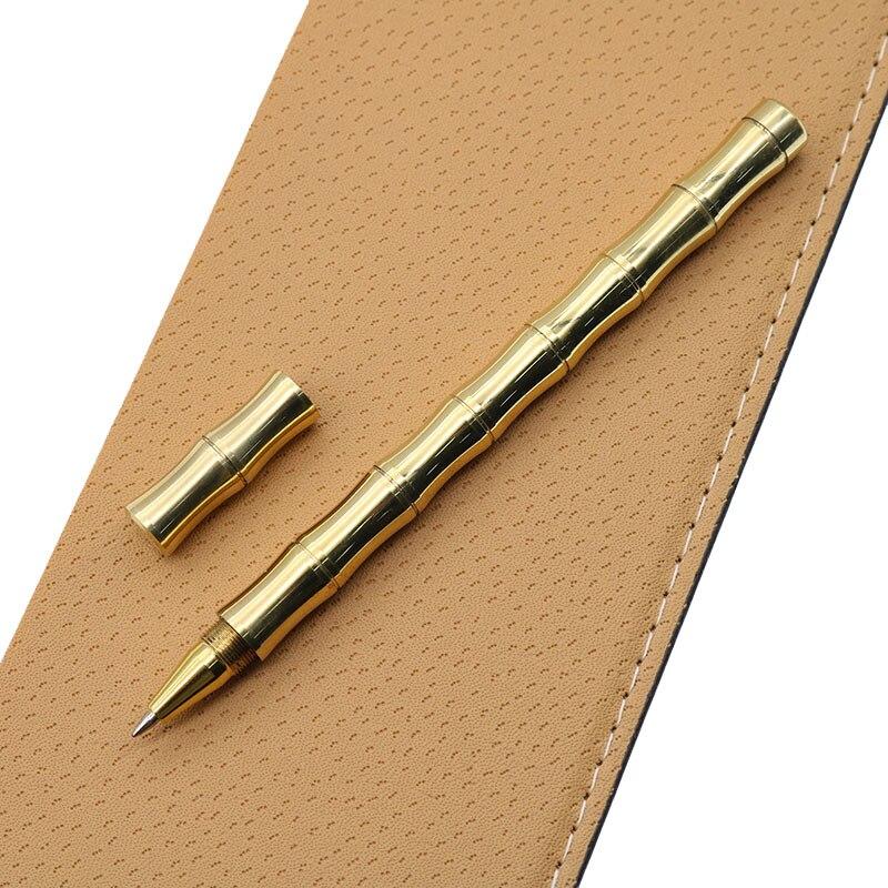 1 шт. Милая высококачественная металлическая шариковая ручка 0,5 мм черная шариковая ручка в форме бамбука из чистой латуни офисные канцелярские принадлежности