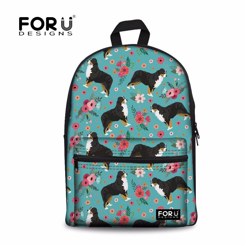 FORUDESIGNS mochilas escolares Mochila Bernese Animal perro flor impresión niños bolsa Mochila para niñas Mochila