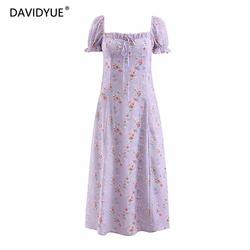 Boho elegante lace up praia vestido de festa mulheres summer dress Sexy chic dividir roupas coreano floral chiffon vestido longo vestidos 2019