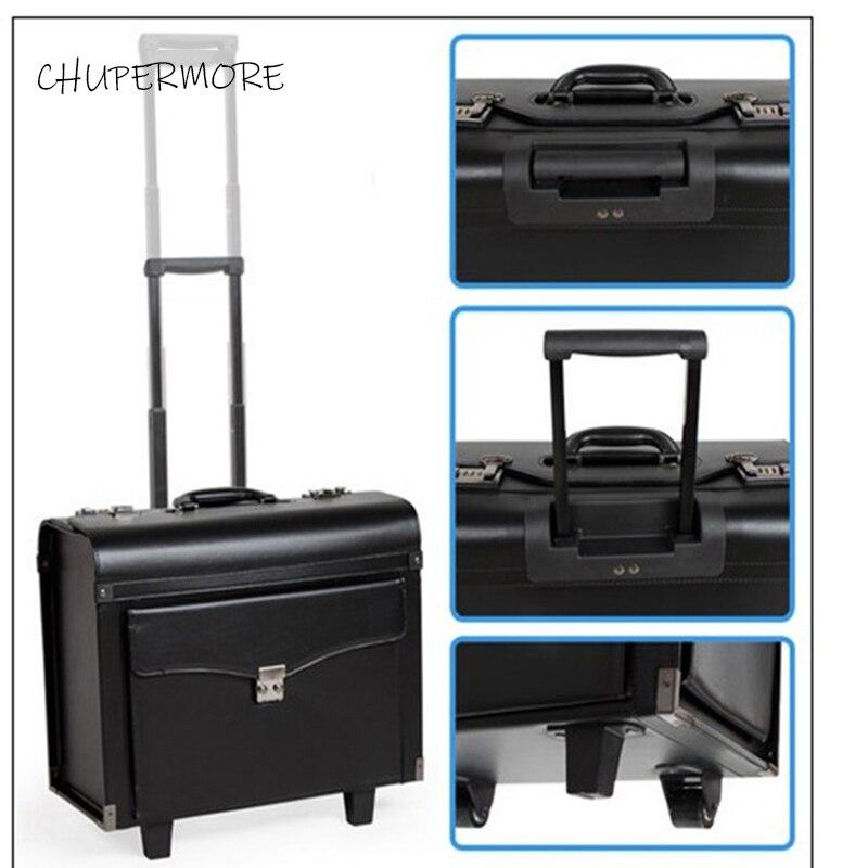 Chupermore PU cuir roulant bagages Spinner femmes valise pilote valise roues 16 pouces transporter des sacs de voyage