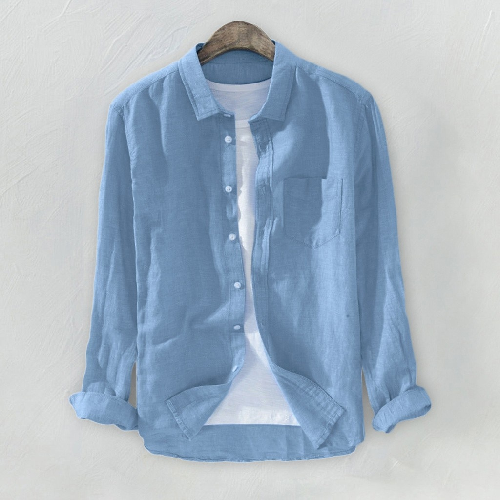 Camisas para hombre blusa masculina Casual camisa manga larga para hombre holgada algodón Lino manga larga botón bolsillo blusa camisa masculina