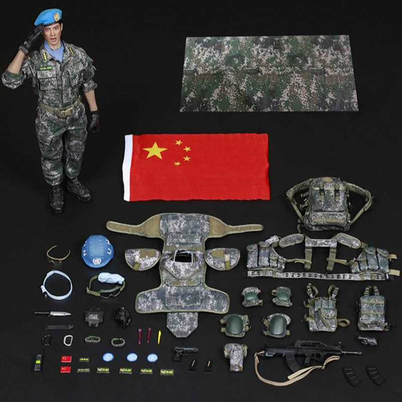Conjunto completo muñeca 1/6 escala militar figura muñeca FLAGSET FS73016 1/6 casco azul guerrero chino mantenimiento de la paz infantería batallón