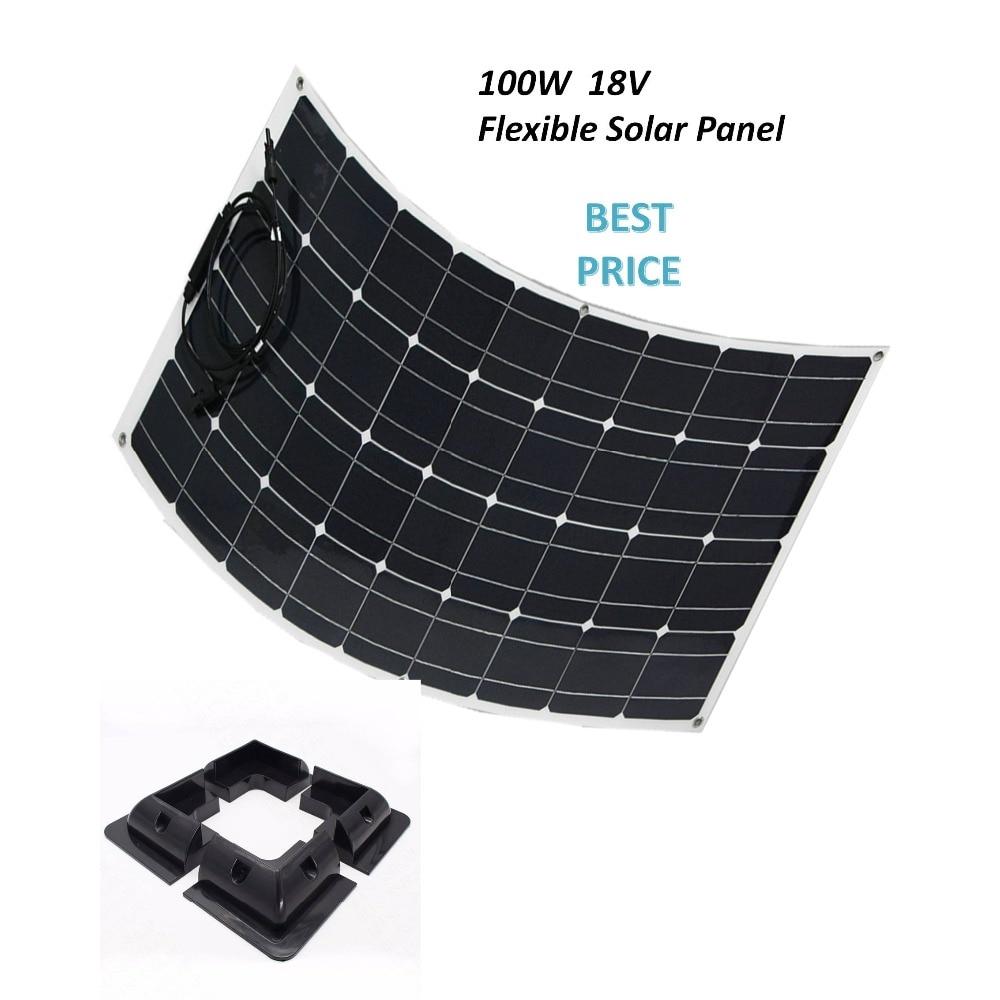 لوحة شمسية أحادية البلورية مرنة 100 واط ، نظام الألواح الشمسية الكهروضوئية مع قوس زاوية للسيارة واليخوت والبخار