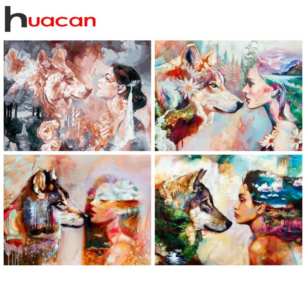 Pintura de diamante Huacan 5d, mosaico cuadrado de Lobo con diseño completo, cuadros con bordado de diamantes con diseño de Animal de diamantes de imitación