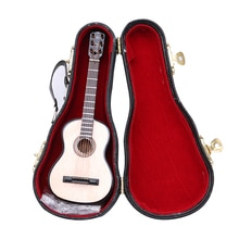 Handmade Miniature Dollhouse Wooden Mini Guitar Model With Box For Action Figures Hot Toys Dolls Acc