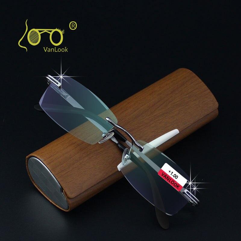 Очки для чтения без оправы со стразами и чехлом для мужчин, антибликовые очки Oculos de Leitura + 1,00 + 1,50 + 2,00 + 2,50 + 3,00 + 3,50 + 4,00