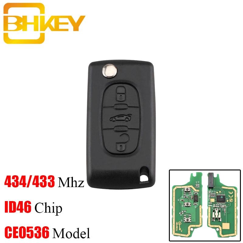 BHKEY 3 botones a control remoto de coche plegable clave HU83 hoja CE0536 para Peugeot 207, 208, 307, 308, 408, 433Mhz ID46 Chip las llaves del coche.