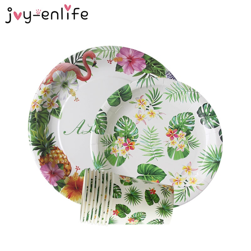 """ALOHA"" Summer Birthday Party Decor Flamingo Party Paper Tableware Set Hawaiian Luau Tropical Party Wedding Decoration Supplies"