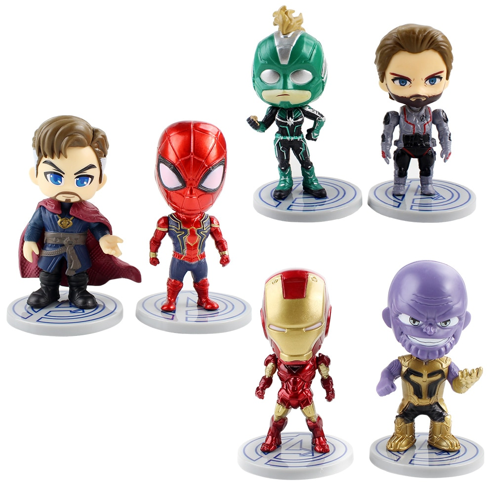 6pcs/lot 9cm Avengers Doctor Strange Captain America Spider Man Iron Man Thanos Q Version Superhero Doll PVC Action Figure Toys
