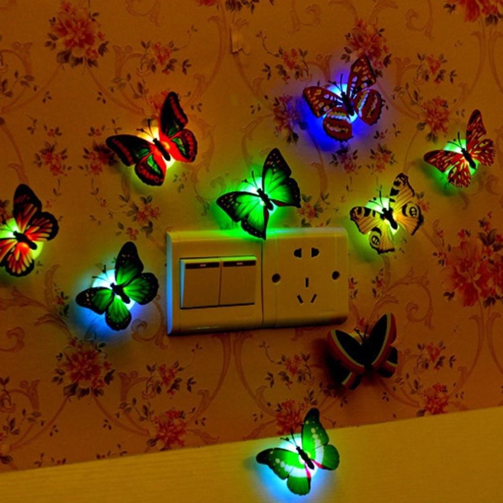 Luz LED mariposa nocturna pegatinas de pared lámpara de ambiente con colorida cambiante luz interior con ventosa decoración de fiesta en casa