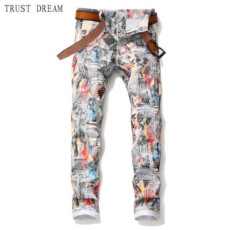Spring Summer 2019 New Men Print Slim Jeans Energetic Man Floral Pants Handsome Streetwear Club Personal Real Photos