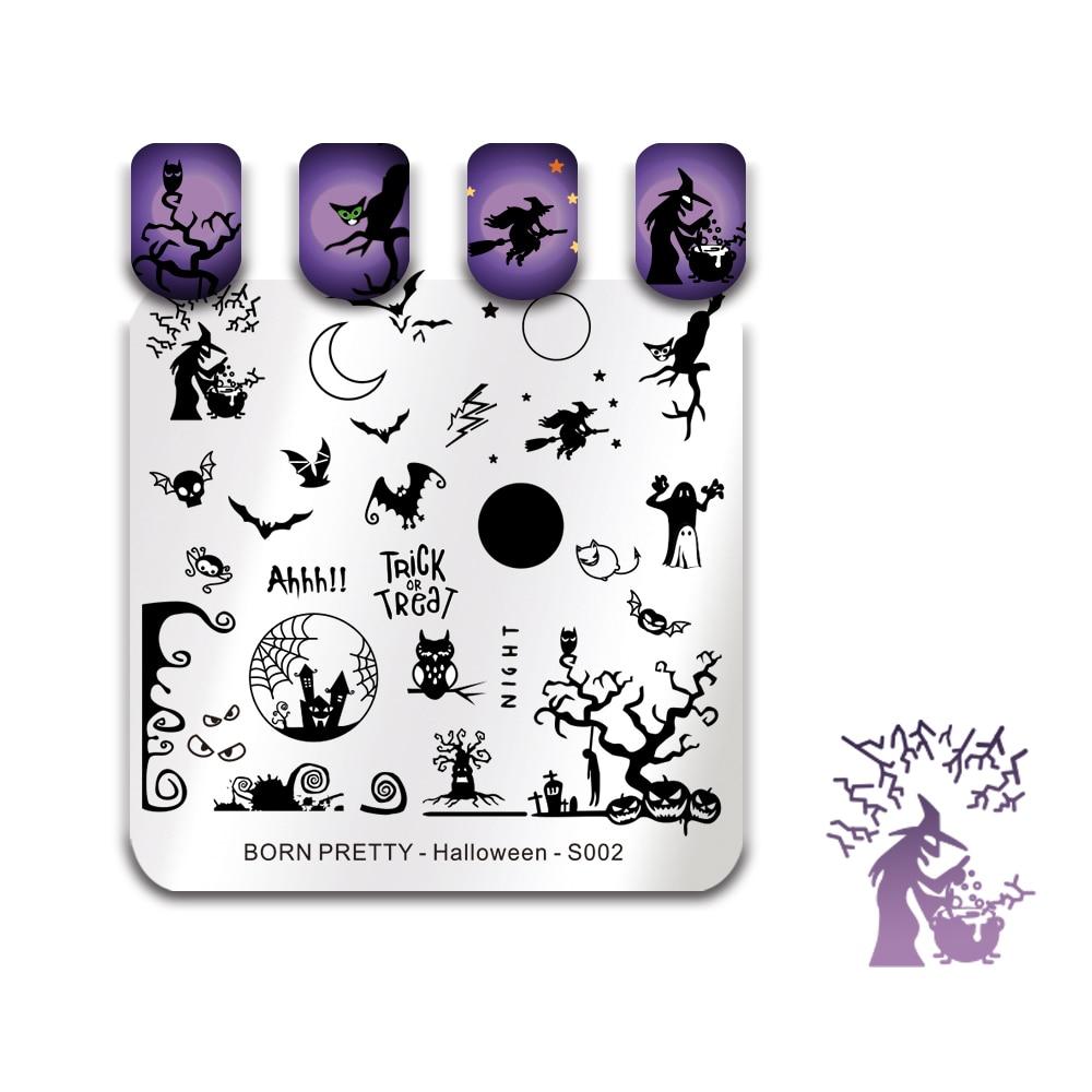 BORN PRETTY Halloween jour estampage modèle chat sorcière chauve-souris crâne citrouille mite fantôme château Zombie Nail Art timbre plaque