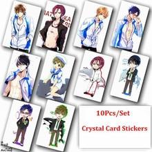 10Pcs/Set Free! Iwatobi Swim Club Haruka Crystal Card Stickers Anime Poster Photo Cards