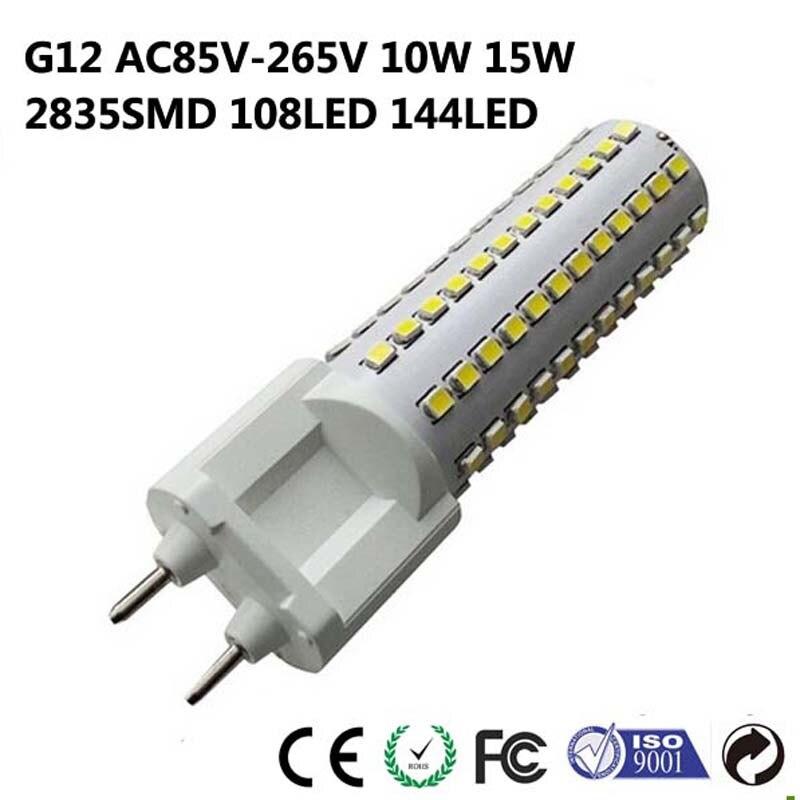 AC85-265V G12 SMD2835 chip 10W 15W bombilla led de maíz de alta potencia, lámpara led blanca fría/Natural/cálida para luces interiores del hogar 10 Uds.