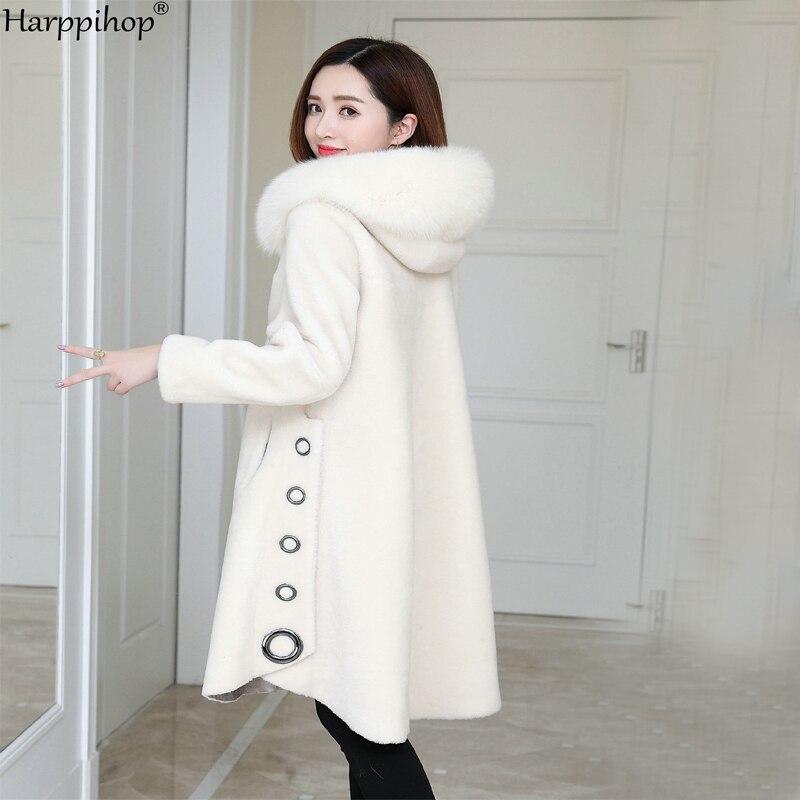 Стриженый Мех Овцы гранулы, женское длинное пальто с капюшоном из лисьего меха, новинка зимы 2019