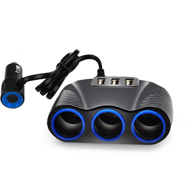 Adaptador de enchufe de coche en forma de T para encendedor de cigarrillos, cargador de coche con 3 USB y potencia de salida de 5V y 3 a de 12V/24V