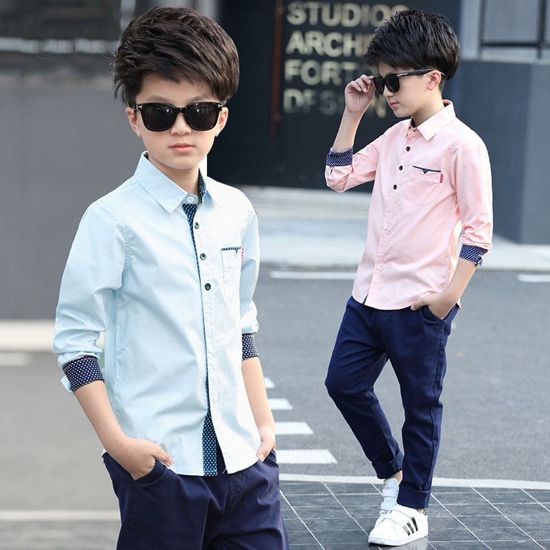 JXYSY 2019 Spring Autumn Boys Cotton Blouses Kids Boys Long Sleeve Shirt Children Fashion Shirt 5-15 Years Kids Clothes tops