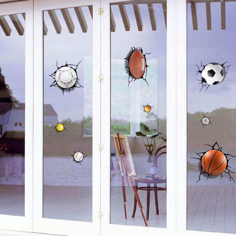 Купить с кэшбэком 3D A lot of balls Broken wall sticker Football basketball home decals window stickers boys room living room sports decor mural
