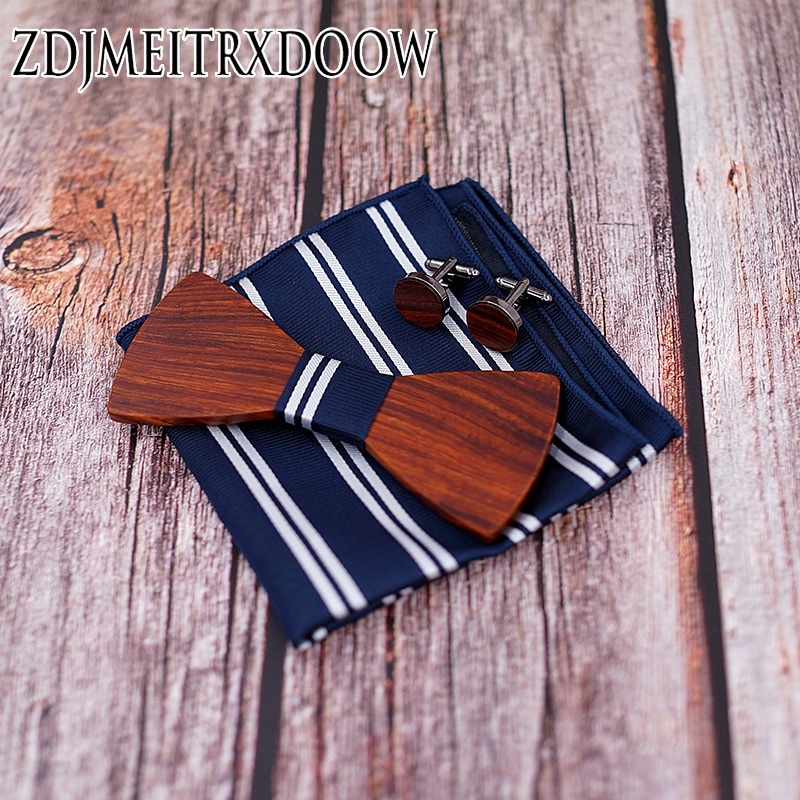 Fashion Wood  bow ties Pocket Square Brooch  mens tie  pre-tied bowknot bow tuxedo bowtie for adjustable For Men