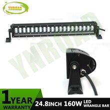 YNROAD 160W 24,8 pulgadas LED wrangler Barra de luz led offroad Bar con alto haz bajo para offroad, 4x4, 4WD, ATV, uso UTV