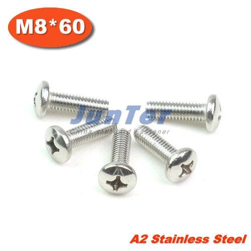 50pcs/lot DIN7985 M8*60 Stainless Steel A2 Pan Head Phillips (Cross recessed pan head) Screw