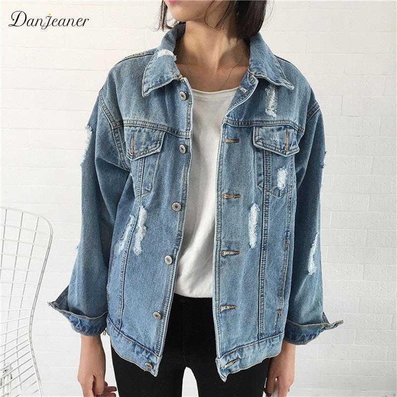 Danjeaner Brand 2018 Women Basic Coat Denim Jacket Autumn Winter Plus Size Bomber Jacket For Women C