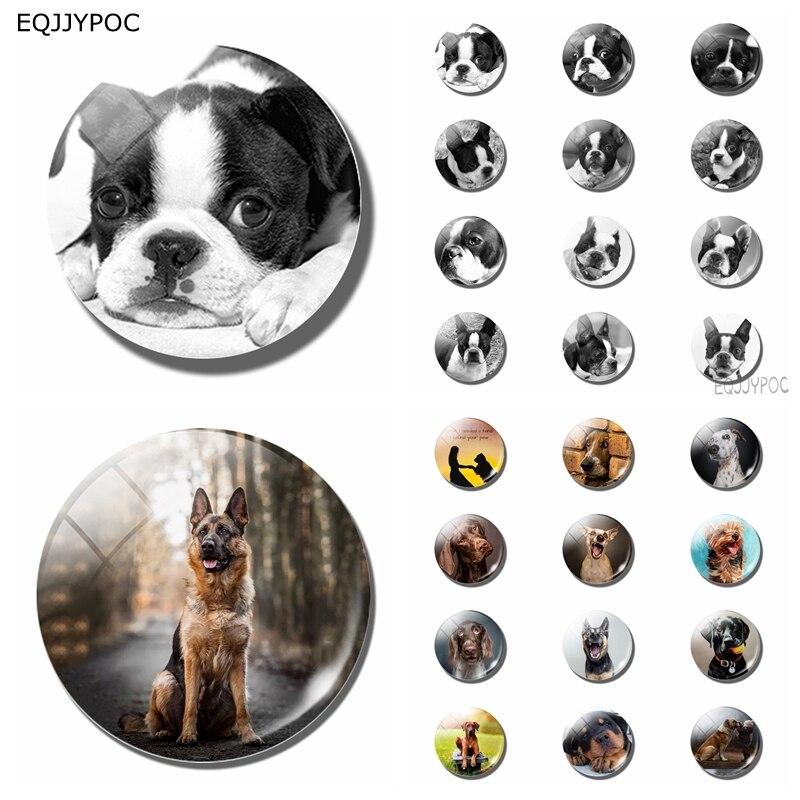 12 Uds perro blanco negro 25 MM nevera imán cristal nota titular adorno para la nevera pegatina magnética decoración del hogar lindo regalo para niños