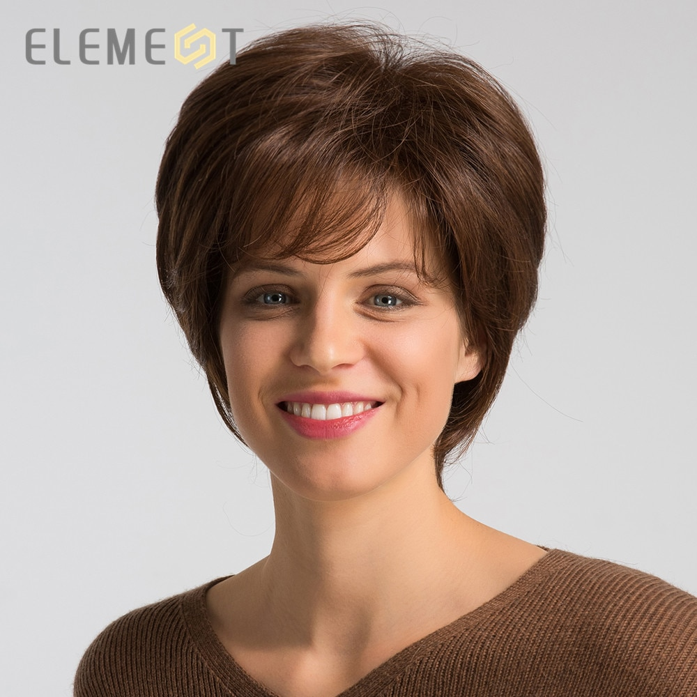 Element 6 Inch Short Synthetic Wig with Side Fringe Blend 50% Human Hair High Density Glueless Brown Pixie Cut Wigs for Women