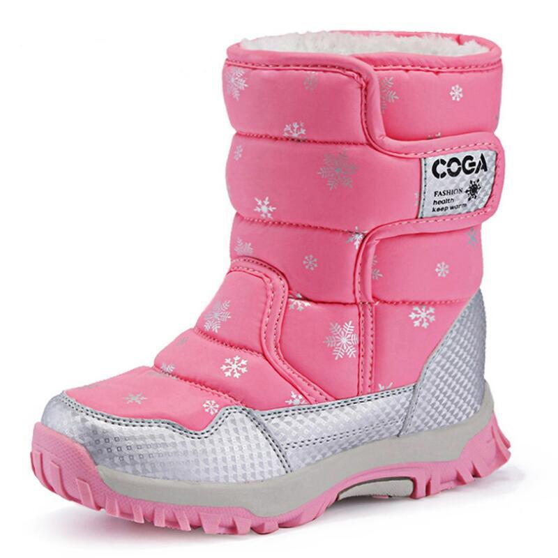 SKHEK, botas de nieve para niñas, botas impermeables de invierno para niños, forro de felpa, zapatos cálidos para niñas a prueba de deslizamiento, Color caramelo, negro, rojo, morado