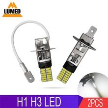 2x H1 H3 LED voiture 24 LED 4014 antibrouillard ampoules Auto antibrouillard conduite ampoules Super lumineux