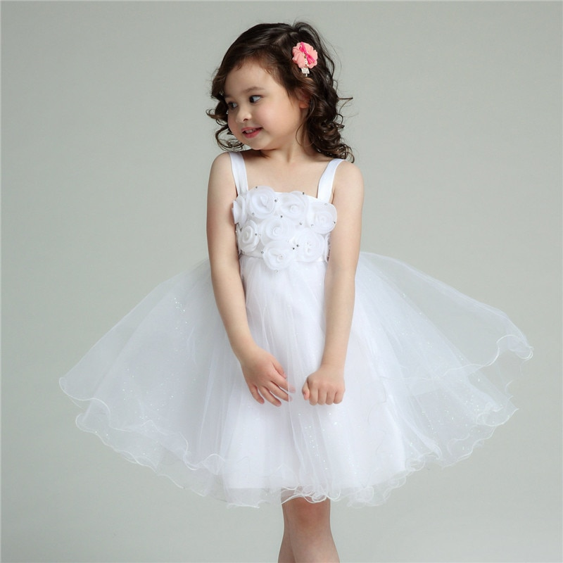 Formal Flower Girl Dresses Tutu White Eleghant Princess Vestidos 2020 Kids Clothes For Girls Of 8 9 10 11 12 Years AKF164060