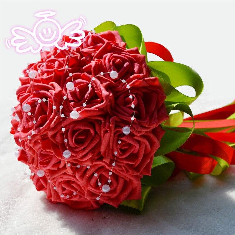 Wedding Flowers Bridal Bouquet PE Rose Artificial Flower Bouquets Wedding Decorative Bridesmaid Flower Bouquet Crystal Pearl недорого