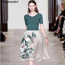 2019 Summer New V-neck Green Knitted Tops + Elegant Flower Print Mid-calf Skirt 2 Piece Set Women Outfits OL Work wear Sets