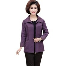 New Autumn Short Jacket Middle-aged Women Plus size Slim Windbreaker Female Long sleeve Solid color casual Coat outwear 4XL F649