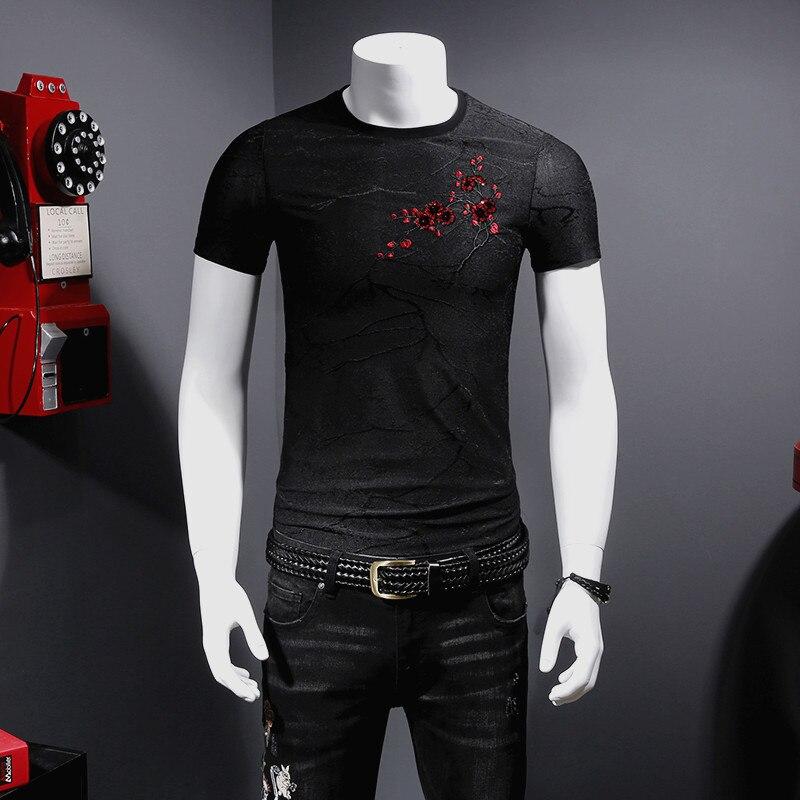 Camiseta de manga corta de lujo bordada con diseño de ciruela y lentejuelas, verano 2018, nueva camiseta transpirable tencel suave de calidad para hombres