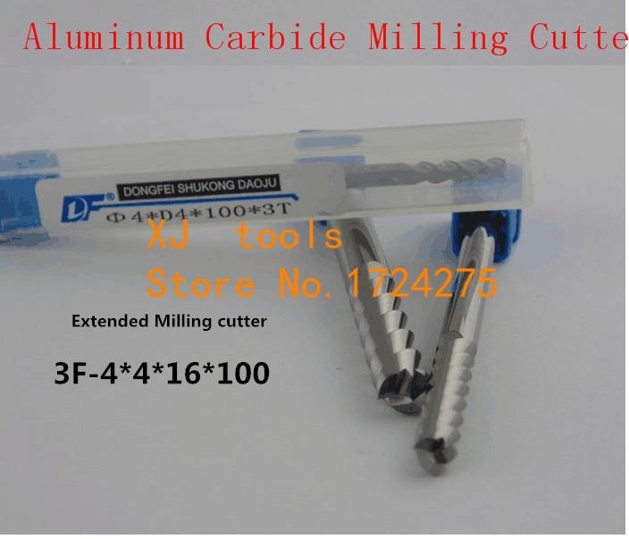 Frete Grátis 4.0mm Longo Fresa 4.0*4*16 * 100L 3 Flautas Alumínio Carbide End mills Carbide, CNC fresa Router Bits, ferramenta torno