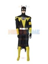 옐로우 랜턴 의상 코스프레 할로윈 코스프레 스판덱스 배트맨 슈퍼 히어로 의상 fullbody zentai suit with cape can customized