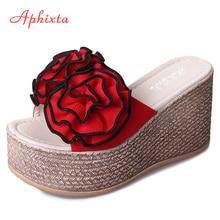 Zapatillas de plataforma Aphixta de 9cm con cuña para mujer, zapatos Zueco Riband, sandalias de flores rosas, sandalias para niñas, chanclas, pantuflas para mujer
