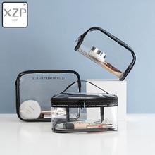 XZP Waterproof Transparent PVC Cosmetic Bag Women Make Up Case Travel Zipper Makeup Beauty Wash Organizer Toiletry Storage Kit