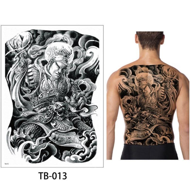1sheet 48*34cm New Large tattoo sticker full back chest temporary tattoos Black Three eye Buddha dragon wolf pattern female men