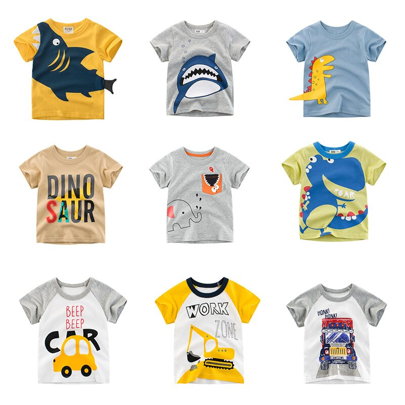 t shirt for boys summer kids clothes child t shirts cotton children tops clothing baby shorts print car machine infant tee New Cartoon Animal Print Baby Boys T Shirt For Summer Infant Kids Boys Girls Car T-Shirts Clothes Cotton Toddler Letter Tops
