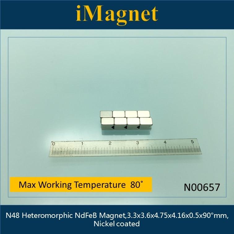 N00657 10 pcs Rare Earth Ímã de Neodímio N48 Bloco Polígono, 3.3x3.6x4.75x4.16x0.5 x grau 90 milímetros de Ndfeb do Ímã, Imã de geladeira