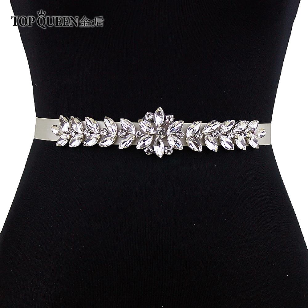 Ремень для свадебного платья TOPQUEEN S69, аксессуары для свадебного платья со стразами и серебряными алмазными бусинами
